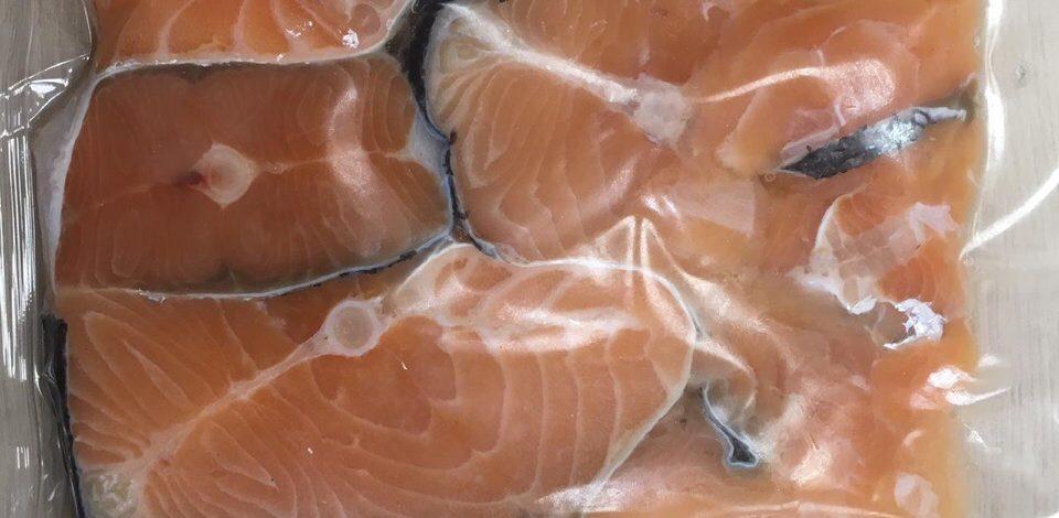 Лосось кусочки мясо(набор с/соли 500 гр)- цена 370 р